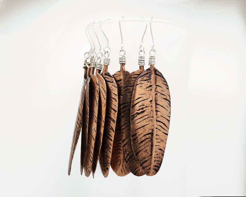 Etched and Fold Formed Copper Feather Earrings