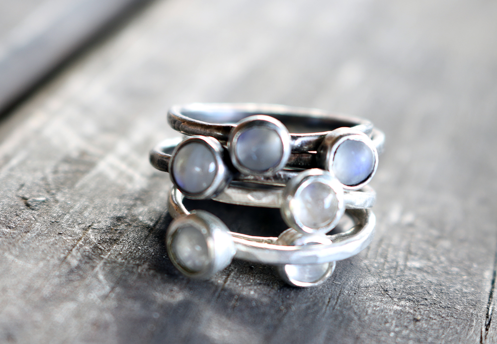 Moonstone Sterling Stacking rings