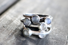 Moonstone Sterling Stacking rings