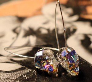 Swarovski AB Crystal Skull Earrings